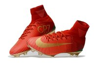 Wholesale Ronaldo Soccer Cleats - Red Gold Original Mercurial Unisex Superfly V Soccer Cleats Cristiano Ronaldo Men CR7 Kids Soccer Shoes Children football boots