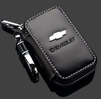Wholesale Remote Control Chain - Leather Car Key Case Chevrolet Key Bag Remote Control package Auto Key Chains Holder Zipper for Chevrolet key bag remote control package