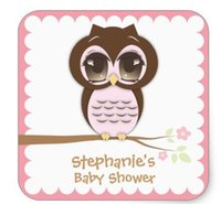 Wholesale 1 inch Cute Pink Owl Baby Shower for a Girl Square Sticker