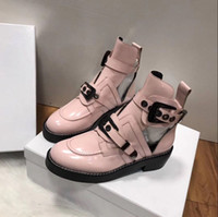 Wholesale Metal Toe Boots - 2017 spring summer Fashion Womens black red shiny Genuine patent Leather gold metal buckle cutouts biker Martin Ankle Boots
