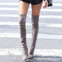 Wholesale Thigh Highs Brown Boots - Women Stretch Slim Suede Leather Over the Knee Boots Thigh High Boots Sexy Fashion High Heel Women Shoes Size 34-43