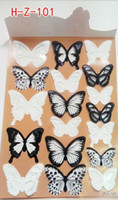 Wholesale Christmas Wall Art Decals - 18pcs Black White Crystal Butterfly Sticker Art Decal Home Decor Wall Mural Stickers DIY Decal Christmas Wedding Decoration Gift