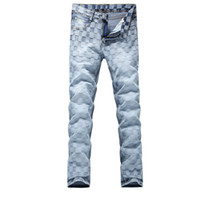 джинсы мужские шотландские оптовых-Wholesale-2016 new Men's blue classic plaid Jeans, Fashion Denim casual pants Men,classic jeans men,plus-size 28-38