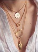 Wholesale Arrow Scale - New Hot Sexy Multi Layer Chain Necklace Geometric Angel wings arrow Fish scales Three Layered Chain Initial Necklace Woman Sale CC618