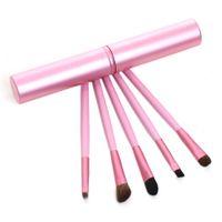 Wholesale Hair Brush Tubes - New Professional Pony Hair Eyeshadow Brushes Set & Kits 5pcs Black 5 pcs Makeup Brushes For Eye Makeup Tool Kit + Round Tube