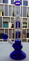 Wholesale Wholesale Smoked Vases - 13 inch Glass bong water pipe Vase Perc Water Percolator Smoking Pipe turbine double 4 arms 14.4mm blue green clear recycler rig