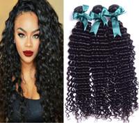 königin haarfarbe großhandel-7a brasilianisches haar tiefe welle lockiges menschenhaar weben extensions natürliche farbe färbbar bleichbar unverarbeitete gali queen hair produkte 3 stücke
