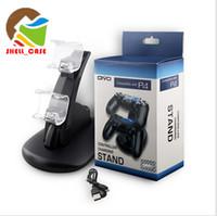 inalámbrico basado en un controlador al por mayor-Para Xbox One Playstation LED Doble cargador USB Soporte de montaje Soporte para PS4 XBOX ONE Gamepad Controladores de juego con paquete