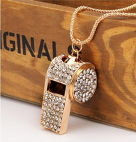 Wholesale rhinestone whistle for sale - Gold Plated Whistle Crystal Long  Sweater Chain Full Rhinestone Costume b4c3458f810f