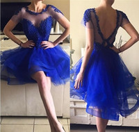 Wholesale V Neck Jewel Blue - 2017 Hot Sheer Jewel Neck Royal Blue Homecoming Dresses Short Sleeves Appliques A Line V Cut Backless Mini SHort Cocktail Dresses