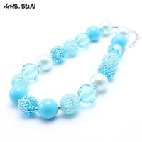 Wholesale Wholesale Chunky Fashion Jewelry - MHS.SUN Blue Color Design Kid Chunky Bead Necklace Fashion Toddlers Girls Bubblegum Bead Chunky Necklace Jewelry Gift For Children