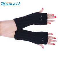 Wholesale Gloves Owl - Wholesale- Womail ladies gloves Fashion Long Knitted Arm Owl Fingerless Winter Gloves Mitten luvas fitness For women #30 2017 Gift 1pair
