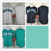 Baseball blank black jersey - Mix Order Stitched Baseball Jerseys Seattle Mariners Blank Blue green White Cheap Home Road MLB Jersey