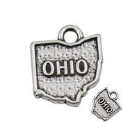 Barato Ohio Charmes Estado Atacado-Atacado American State Map Charms Vintage Ohio Alloy State Map Charms 14 * 17mm 50pcs / ot AAC1073