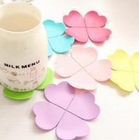 pe paspaslar toptan satış-3D Karışık Renkler Çiçek Petal Şekli Fincan Coaster Çay Kahve Fincanı Mat Masa Dekor Dayanıklı Pretty İçecek Accssary