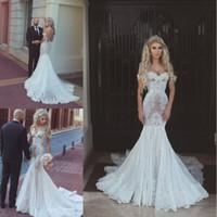 Wholesale low back off shoulder wedding dresses resale online - 2018 Off the Shoulder Mermaid Wedding Dresses Lace Appliqued Sweep Train Dubai Arabic Low Back Bridal Gowns Vestidos De Noiva