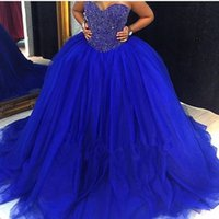 Wholesale Year 12 Formal Gowns - Real Photos Royal Blue Quinceanera Gowns 2017 Sweetheart Beaded Crystal Lace Up Ball Gown Sweet 16 Dresses 15 Years Prom Formal Wear