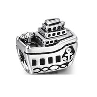 Wholesale Boat Jewelry - New Arrival Beautiful Boat Charm 925 Sterling Silver European Charms Beads Compatible With Bracelets Snake chain Fashion DIY Jewelry