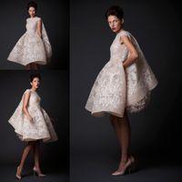 Wholesale Short Bridal Cape - Ashi Studio Luxury Lace Cape Short Ball Gown Wedding Dresses 2016 Krikor Jabotian Arabic Knee-length Outdoor Wedding Bridal Gown