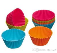 vasos de papel diseño de la magdalena al por mayor-Nueva Llegada 12 UNIDS / set Cake Cup of Bakeware Kitchen Craft Color funciona Silicona Cupcake Cases forma de silicona Herramientas de decoración de pasteles