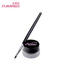 crème résistant à l'eau achat en gros de-Vente en gros - Livraison gratuite Beauté Yeux Maquillage Marque flamingo longue durée doux noir résistant au maculage résistant à l'eau crème eyeliner