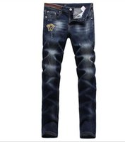 Wholesale Slimming Bomb - New arrival!Embroidery micro - bomb jeans Men 's youth Slim stretch straight small jeans male long pants