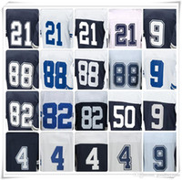 Wholesale Romo Football Jerseys - With Name Stitched ELITE 21 ELLIOTT 4 PRESCOTT 88 BRYANT 82 WITTEN 9 ROMO 50 SMITH Jersey SPORT Hot Football Jerseys USA