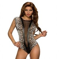 Wholesale Leotard Mesh - 2016 New Hot Sexy Mesh Sheer Teddy Bodysuit Romper Lingerie Night Wear E3196 Erotic Leopard Leotard Teddy Body Suits For Women