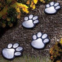 Wholesale Led Paw Print - Easy Installation Paw Print Lamp Durable Plastic LED Solar Lights Glowing In The Dark Garden Lamps High End 26zx B