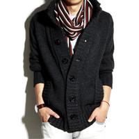 ingrosso cappotto di lana da uomo coreano-Maglioni da uomo New Cardigan in lana Felpe con cappuccio per uomo Spessa collo collare Pullover Autunno Inverno Coreano Maniche lunghe Slim Casual Solid Outwear Coat