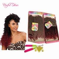 Wholesale Extension Loops Curly Hair - preloop freetress crochet hair extensions brazilian hair bundles pre looped savana jerry Curly Braids synthetic braiding hair Ombre Weaves