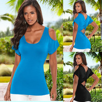 Wholesale strapless sleeved shirt - New Summer Fashion Sexy Scoop Neck Strapless Hollow Out Ruched Short Sleeved T-Shirt Women Tops Tees Blue Black