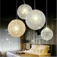 chandeliers en cristal boule ronde achat en gros de-Moderne K9 boule de cristal pendentif lampe pendentif en cristal lumière 15cm 20cm 25cm 30cm boule ronde lustres salon / chambre à coucher plafond