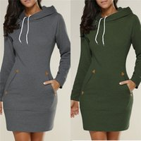 Wholesale Empire Feather Dress - Long Jumper Ladies Hoodies Dress Black Gray Wine Red Army Green Autumn Winter Women Long Sleeve Hooded Hoodies Sweatshirts 5XL DHL Nx170909