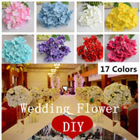 Wholesale Decorative Floor Lights - Wholesale- 25pcs lot luxury artificial Hydrangea silk flower Amazing colorful decorative flower for wedding party Birthday decoration
