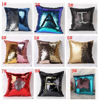Wholesale Cushioned Car Covers - Double Sequin Pillow Case cover Glamour Square Pillow Case Cushion Cover Home Sofa Car Decor Mermaid Bright Pillow Covers free shipping