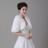 Wholesale Real Fur Shawl Shrug - Real Photo Wedding Bolero Wraps With Half Sleeves Whtie   Ivory Faux Fur Bridal Jacket In Stock Cheap Bride Coat   Cape   Shawl   Shrug