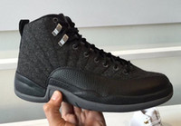 Wholesale Cheap Baskets For Sale - 2016 high quality air retro 12 XII Wool Black Grey Black Nylon 12 man Basketball Shoes Athletics sports Sneakers cheap online for sale