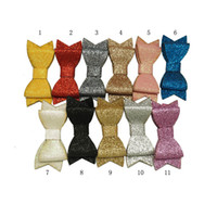 Wholesale Baby Glitter - 3 inch 11 Colors Glitter Hair Bows Baby Girls Stacked Hair Accessories With Single Fork Clip