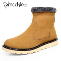 Wholesale Side Zipper Combat Boots - Wholesale- 2016 Autumn and Winter Snow Boots For Men Classic Genuine Leather Combat Ankle Boots Cotton Side Zipper Round Toe Casual Boots