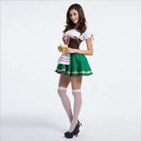 Wholesale Beer Maid Dress - 10Pcs Lot By DHL Oktoberfest Beer Girl Sexy Maid Dress Off The Shoulder Vintage Luxury Cosplay Halloween Costumes Dance Performance Clothing