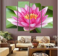 Wholesale Modern Superb Oil Paintings - Free shipping 4 Piece The unique gift Superb Flower Print Painting on Canvas Combination Huge Modern Wall Charm Lotus Picture