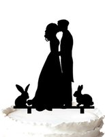 Wholesale Rabbit Topper - Groom and Bride kissing with Two cute Rabbits, Acrylic Cake Topper Kissing Couple Celebration,37 color for option Free Shipping