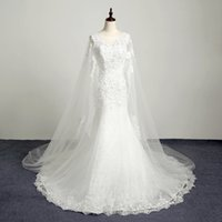 Wholesale Silk Wrap Robe - New Vestidos De Novia Custom Made Elegant Beading Appliques Lace Mermaid Wedding Dresses Robe Mariee Watteau Train Bridal Gowns