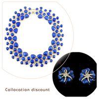Wholesale Blue Enamel Flower Earrings - New Fashion Jewelry Sets Women Blue Enamel Choker Necklace Brincos Flower Rhinestone and Stud Earrings
