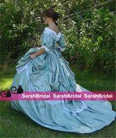 victoria tafta elbisesi toptan satış-Custom Made Southern Belle Victoria Gelin İç Savaşı Steampunk Bir Çizgi Balo Etek Tafta ve Dantel Ucuz Vintage Retro Gelinlik