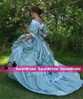 vestidos victorian belle al por mayor-Custom Made Southern Belle Victorian Guerra Civil Steampunk Una línea Vestido de fiesta Falda de tafetán y encaje Vestidos de boda retro vintage baratos