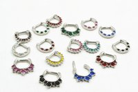 LOT50pcs 14g ~ 1.6mm Mix Gems Nose Septum Studs Clicker Ring Nose / Ear / Nipple Ring jóias piercing corporal Mix Styles, NEW