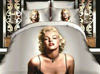 Wholesale Bedding Purple Green - Hot Sale Marilyn Monroe Sex bedding Beautiful Scenery Set of 4 Home Textiles Quilt Cover Sheets Pillowcase 3D Printed 4pcs Bedding Set