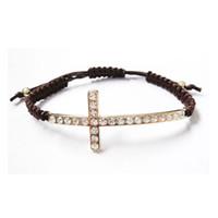 Wholesale Cheap Handmade Crosses - Cheap Handmade Cross Bracelets,Wholesale 30pcs Lot Rhinestone Cross Brown Rope Woven Bracelets For Women's Fashion Jewelry Accessories 7513